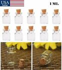 1ml Mini Clear Small Glass Bottles Cork Stopper Mini Vial Empty Containers USA