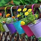 10x Hanging Metal Flower Bucket Plant Pot Home Decor Garden Multifunction Tin Uk