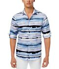 I-N-C Mens Distorted Wave Button Up Shirt