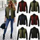 Womens Warm Quilted Padded Bomber Jacket Fleece Zip Up Warm Puffer Coat Outwear