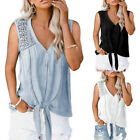 Womens V Neck T-shirts Ladies Summer Hollow Out Casual Blouse Plain Loose Tops