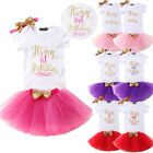 Toddler Baby Girls 1st 2nd Birthday Dress Set T-Shirt Tutu Skirt Headband Outfit