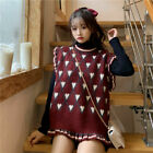 Girl Sweet Vest Knitted Waistcoat Casual Pullover Round Neck Sleeveless Sweater