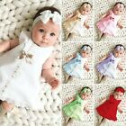 Newborn Infant Baby Girl Solid Lace Short Sleeve Dress Bow Headband Set