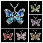 Fashion Butterfly Colorful Crystal Pendant Choker Sweater Necklace Chain Jewelry
