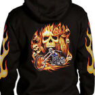 Flaming Skull Chopper Hoodie cross bones Flames biker