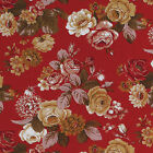 COTTON CURTAIN UPHOLSTERY RETRO FLORAL STRIPE RED ROSE