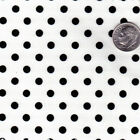 "POLY COTTON BLEND CLOTH DRESS FABRIC 5mm BLACK RED PINK POLKA DOT on WHITE 44""w"