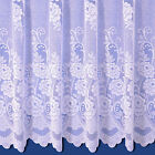 SALLY JACQUARD NET CURTAIN IN WHITE. SOLD BY THE METRE. FREE DELIVERY