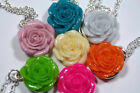 Cabbage Rose Necklace & 2pr Earring Set Silver Choice