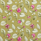 COTTON CURTAIN CRAFT TOTE FABRIC FLORAL LEAF GREEN PINK