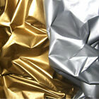"SHINY HIGH GLOSS NYLON 30 DENIER LIGHT WT WATERPROOF WR FABRIC GOLD SILVER 58""W"