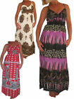 ICE (3917-4-5-6) Ladies Summer Cool Cotton Maxi Long Dress Red size 8-10