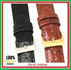 16mm, 18mm, 20mm Black or Brown Leather Watch Strap, Open Ended, Buckle Choice!