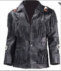 MENS WESTERN TRAPPER STYLE LEATHER JACKET FRINGES BEADS