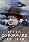 2W24 Vintage WWII Let Us Go Forward Churchill Recruitment Poster WW2 A1 A2 A3