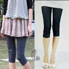 Shiny Jean Look soft Short side drape Tights  pants p060