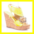 WOMAN SHOES DESIGNER YELLOW FLOWERED CORK PLATFORM WEDGE HIGH HEEL SANDALS