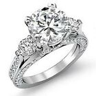 2.22 Ct. Natural Genuine Round Cut Diamond Engagement Ring G, SI1 14K Gold Pave