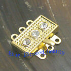 Gold Plated Crystal Inlayed Box Clasp 3 Strands