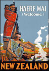 T42 Vintage Haere Mai Welcome To New Zealand Travel Poster Re-Print A4