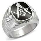 NEW STAINLESS STEEL MASONIC MASON MEN'S RING in ONYX SIZE 8-13