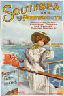 TW68 Vintage Southsea & Portsmouth Travel Poster Re-Print A2/A3