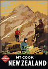 TR11 Vintage New Zealand MT.Cook Travel Poster Re-Print A4