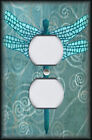 Metal Light Switch Plate Cover - Dragonfly With Aqua Blue Swirl Background