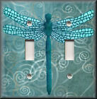 Light Switch Plate Cover - Dragonfly With Aqua Blue Swirl Background