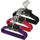 KIDS BLACK / PINK / PURPLE NON SLIP VELVET FLOCKED COAT CLOTHES HANGERS
