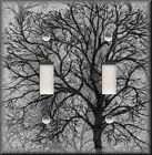 Light Switch Plate Cover - Contemporary Tree - Black And Grey - Home Decor