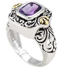 Sterling Silver Emerald Cut African Amethyst Gold Accent Bali Style Ring