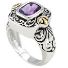 Sterling Silver Emerald Cut Amethyst Gold Accent Bali Style Filigree Solitaire