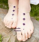 """CADBURY PURPLE""  Barefoot Sandals  Swarovski Velvet Crystals  Foot Jewellery"
