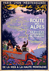 TW73 Vintage 1920s French Route Des Alpes France Travel Poster Re-Print A4