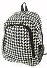 Canvas Hounds Tooth Print School Backpack Choice of Colors