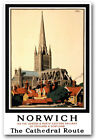TX42 Vintage 1930's LNER Norwich Railway Travel British Poster Re-Print A4