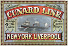TS3 Vintage Shipping Cunard Line New York Liverpool Ship Poster Re-Print A4