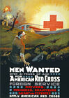 W34 Vintage WWI Men Wanted American Red Cross Recruitment War Poster WW1 A4