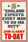 W79 Vintage WWI England Expects Do Your Duty Join The Army Poster WW1 A4