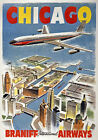 TX115 Vintage Chicago Braniff Airways Airline Travel Poster Re-Print A4