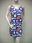 TRACY NEGOSHIAN Royal Blue Orange White Sleeveless Robyn Dress Mini NEW NWT