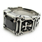 Men's PUNK gothic silver stainless steel jesus cross gemstone charm party ring