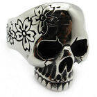 Men's gothic skull flower stainless steel charm silver finger ring PUNK