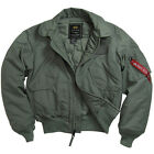 ALPHA INDUSTRIES MCGUIRE 45/P AIR FORCE MILITARY FLIGHT JACKET  BLUE SAGE