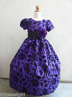 NEW VT  PURPLE  FLOCKING VELVET CHRISTMAS WINTER FLOWER GIRL DRESS  2 4 6 8 10