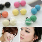 1 pair Lovely Cute Candy Colourful Disco Round Ball Earrings Ear Studs Fashion