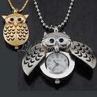 Golden Silver Night Owl Wings Quartz Pocket Watch Pendant Necklace Chain Gift