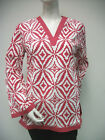 Tracy Negoshian Maria Tunic Top Crimson Red White Print NEW NWT 100% cotton